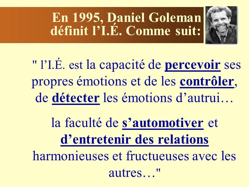 En 1995, Daniel Goleman définit l'I.É. Comme suit: