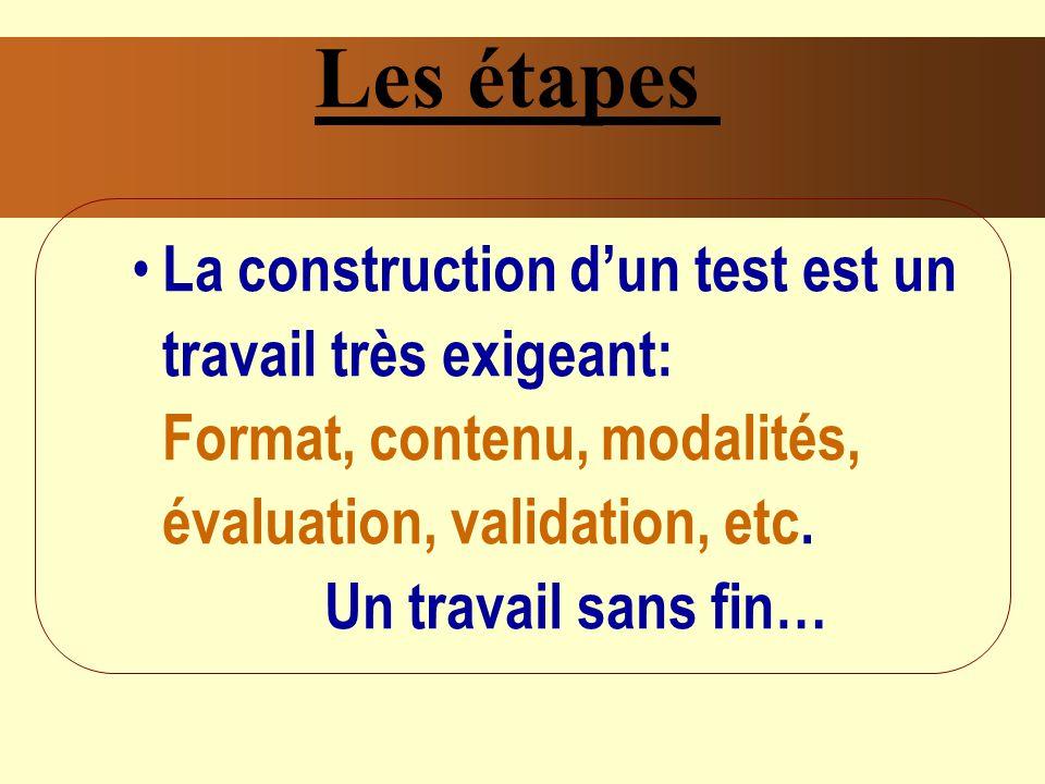 Les étapes La construction d'un test est un travail très exigeant: