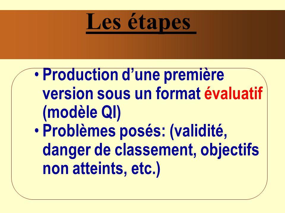 Les étapes Production d'une première version sous un format évaluatif (modèle QI)