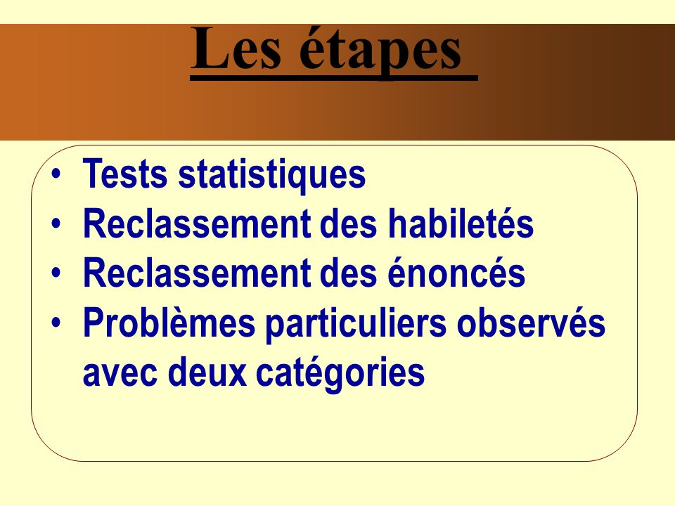 Les étapes Tests statistiques Reclassement des habiletés