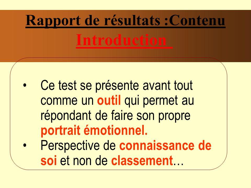 Rapport de résultats :Contenu Introduction