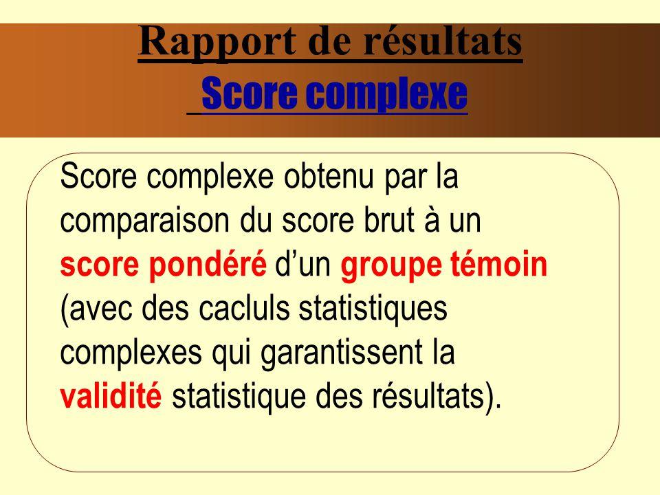 Rapport de résultats Score complexe