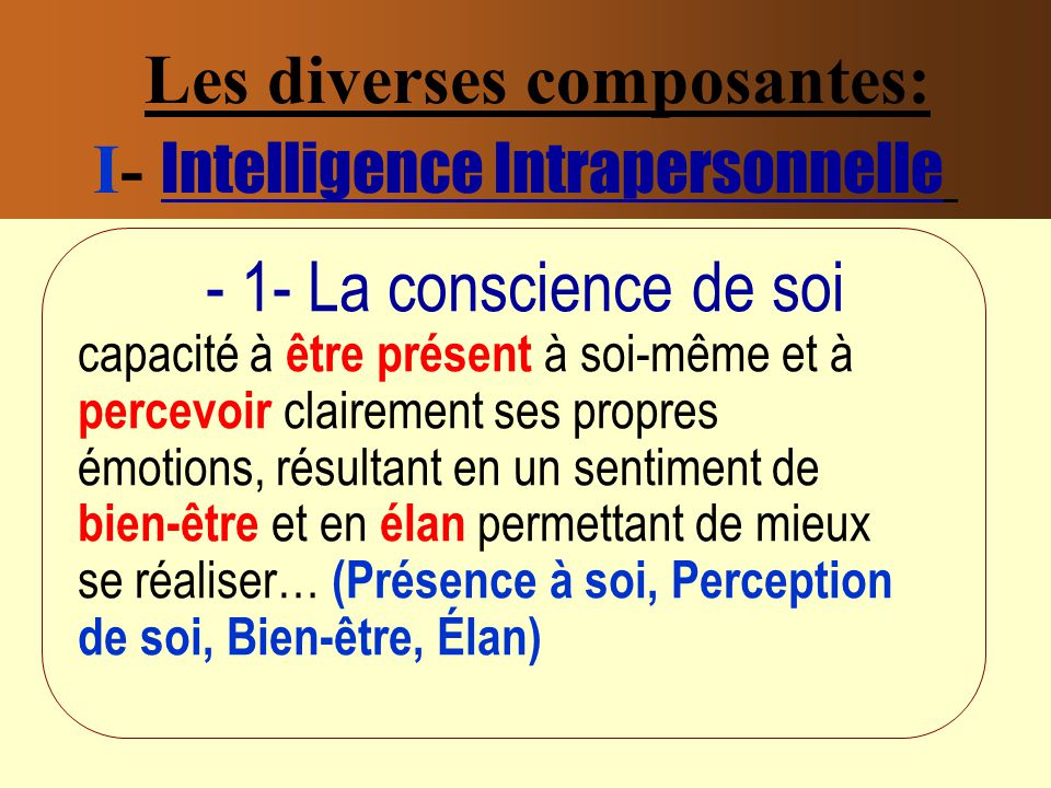 Les diverses composantes: I- Intelligence Intrapersonnelle