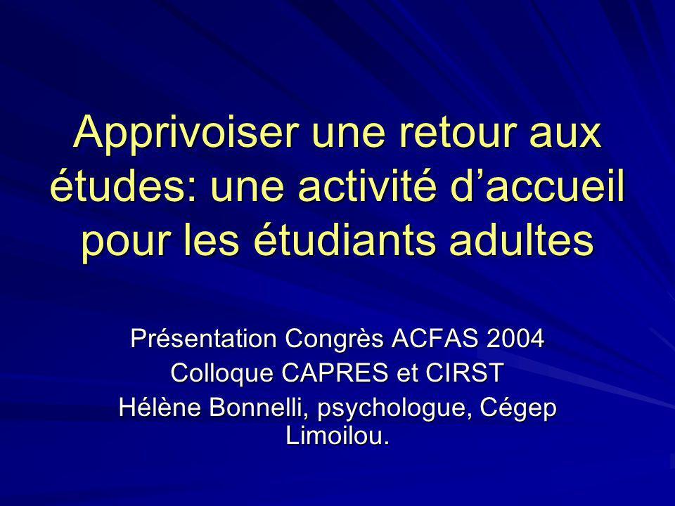 Apprivoiser une retour aux études: une activité d'accueil pour les étudiants adultes
