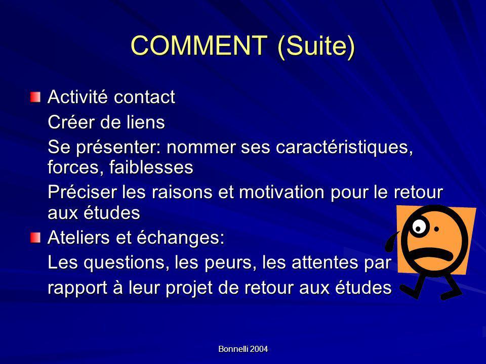 COMMENT (Suite) Activité contact Créer de liens