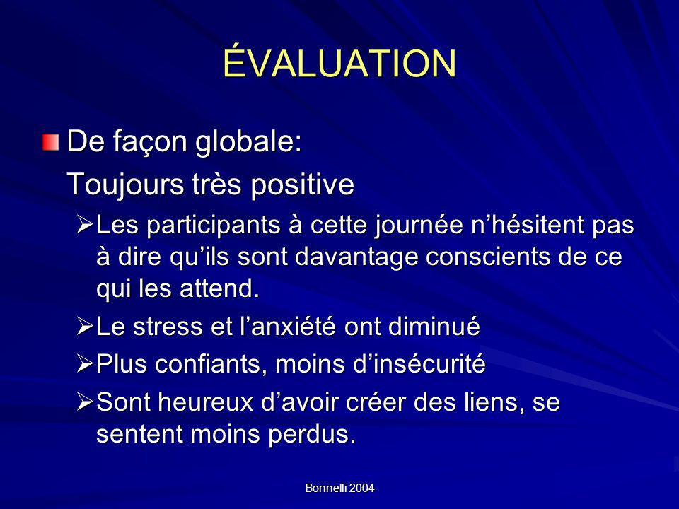 ÉVALUATION De façon globale: Toujours très positive
