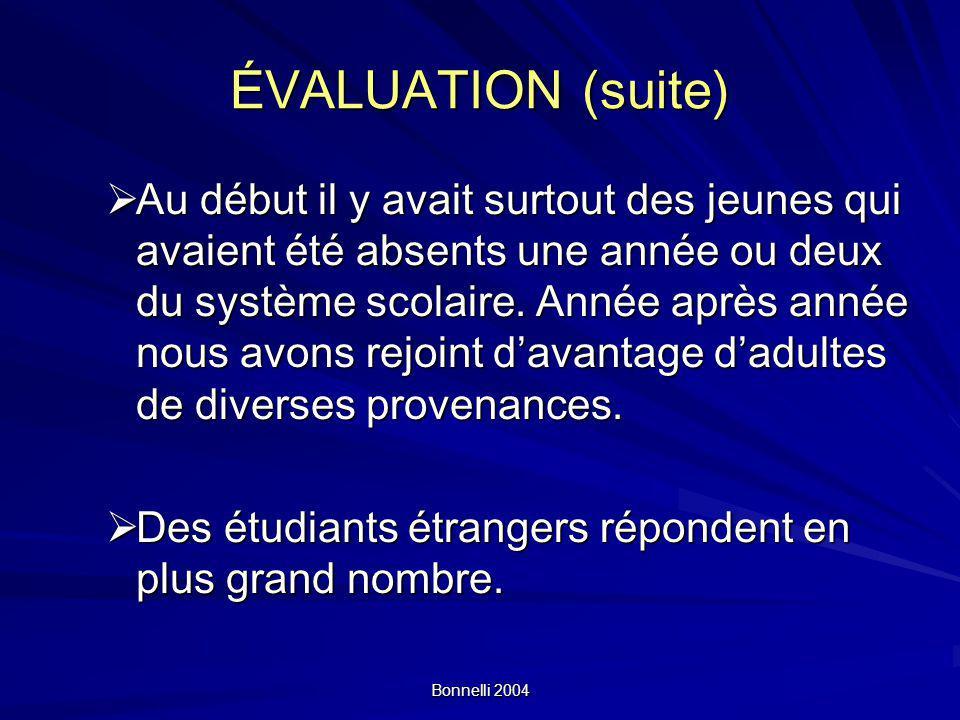 ÉVALUATION (suite)