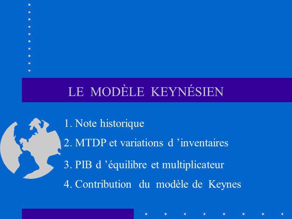 LE MODÈLE KEYNÉSIEN 1. Note historique