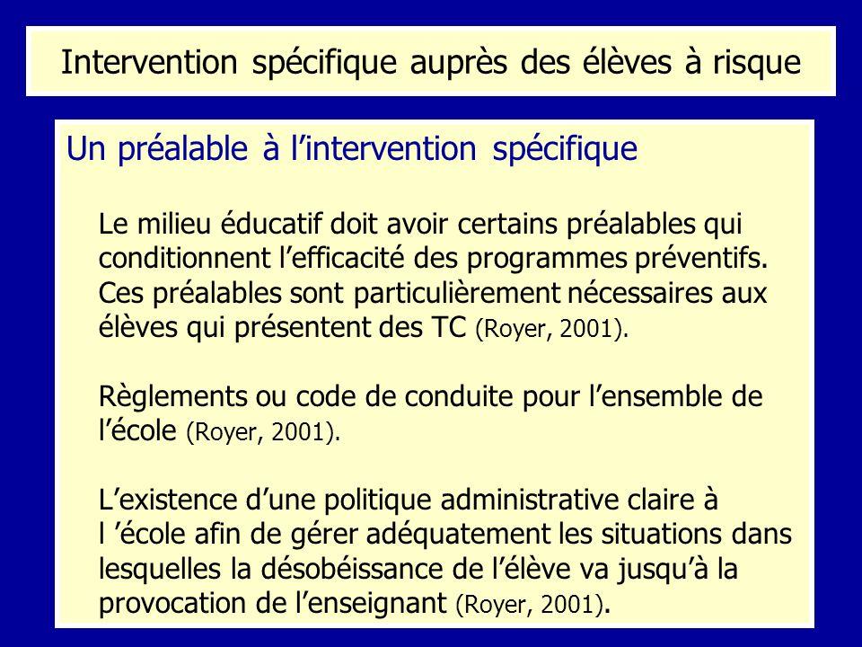Intervention spécifique auprès des élèves à risque