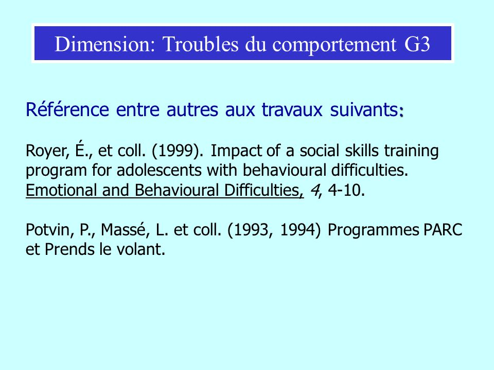Dimension: Troubles du comportement G3