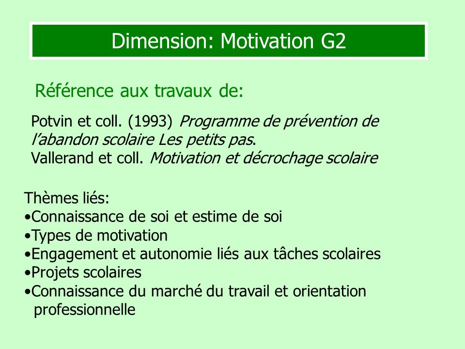 Dimension: Motivation G2