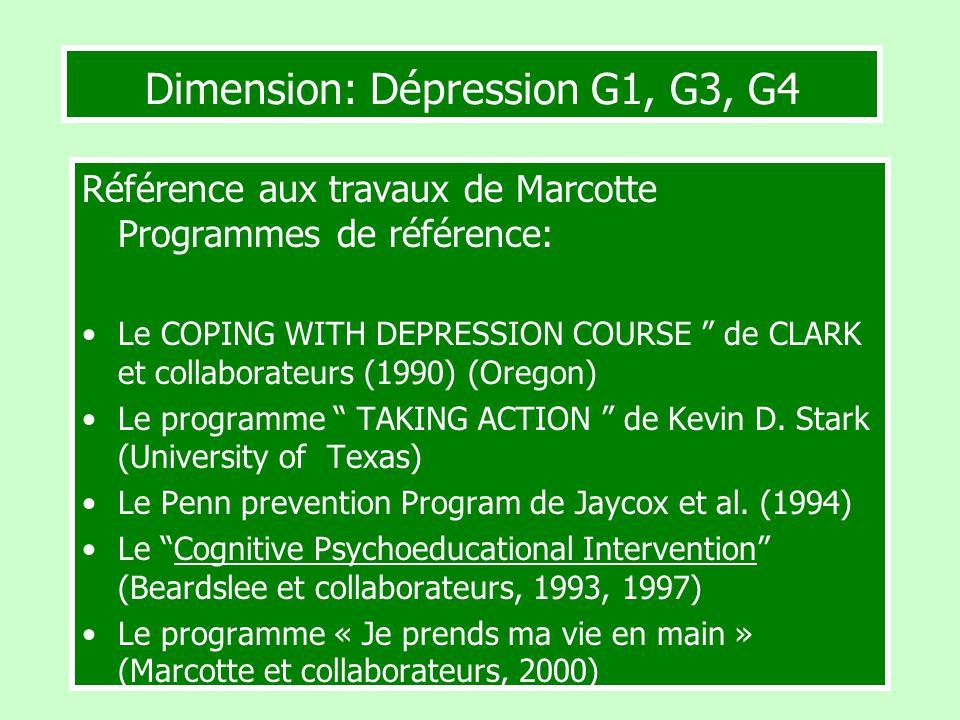 Dimension: Dépression G1, G3, G4