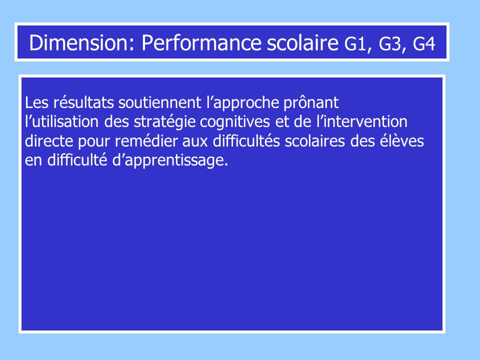 Dimension: Performance scolaire G1, G3, G4