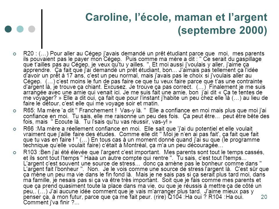 Caroline, l'école, maman et l'argent (septembre 2000)