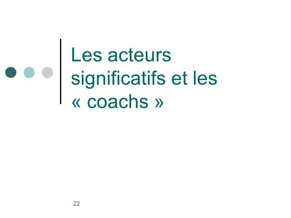 Les acteurs significatifs et les « coachs »