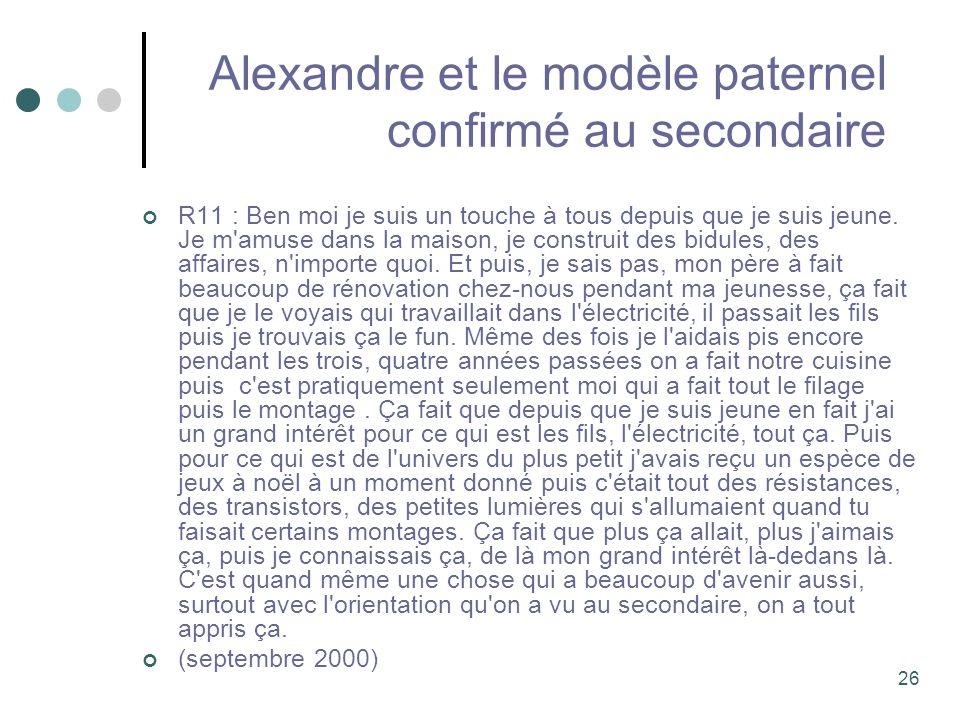 Alexandre et le modèle paternel confirmé au secondaire