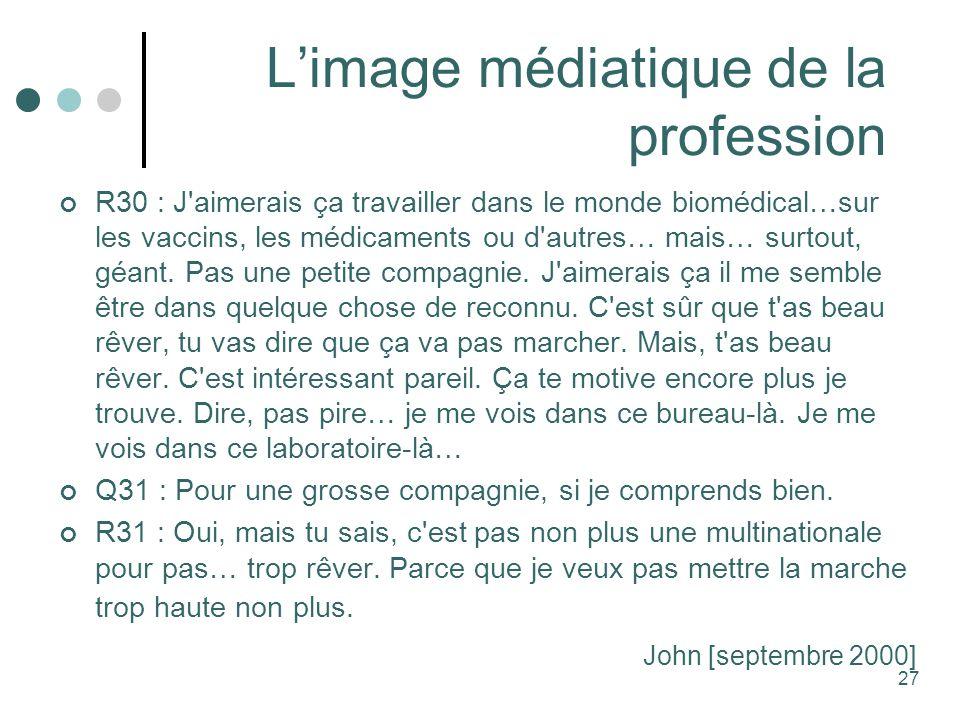 L'image médiatique de la profession