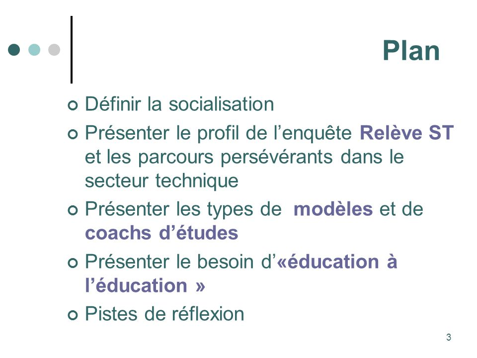 Plan Définir la socialisation