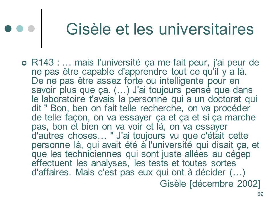 Gisèle et les universitaires
