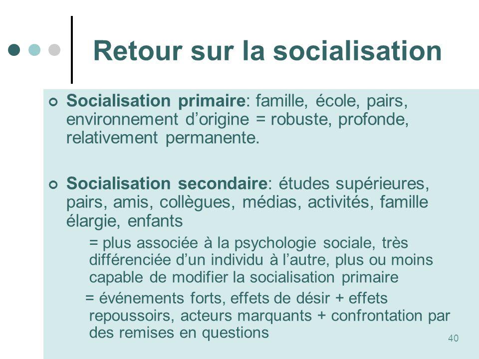 Retour sur la socialisation