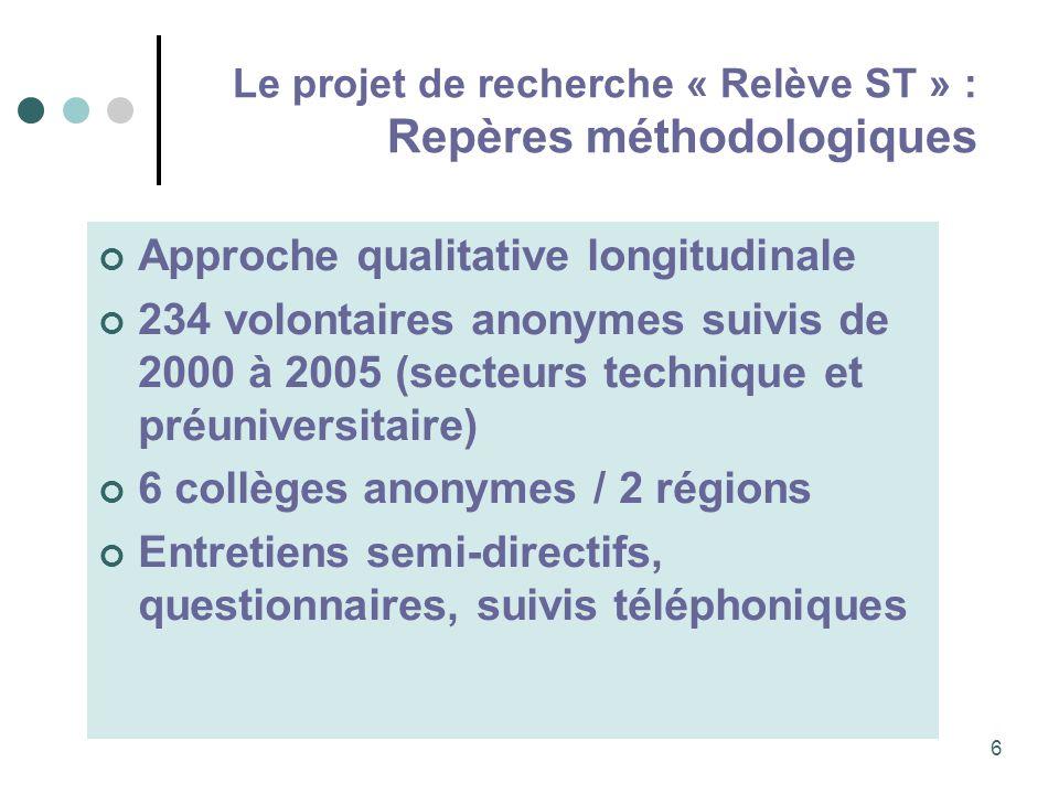 Le projet de recherche « Relève ST » : Repères méthodologiques