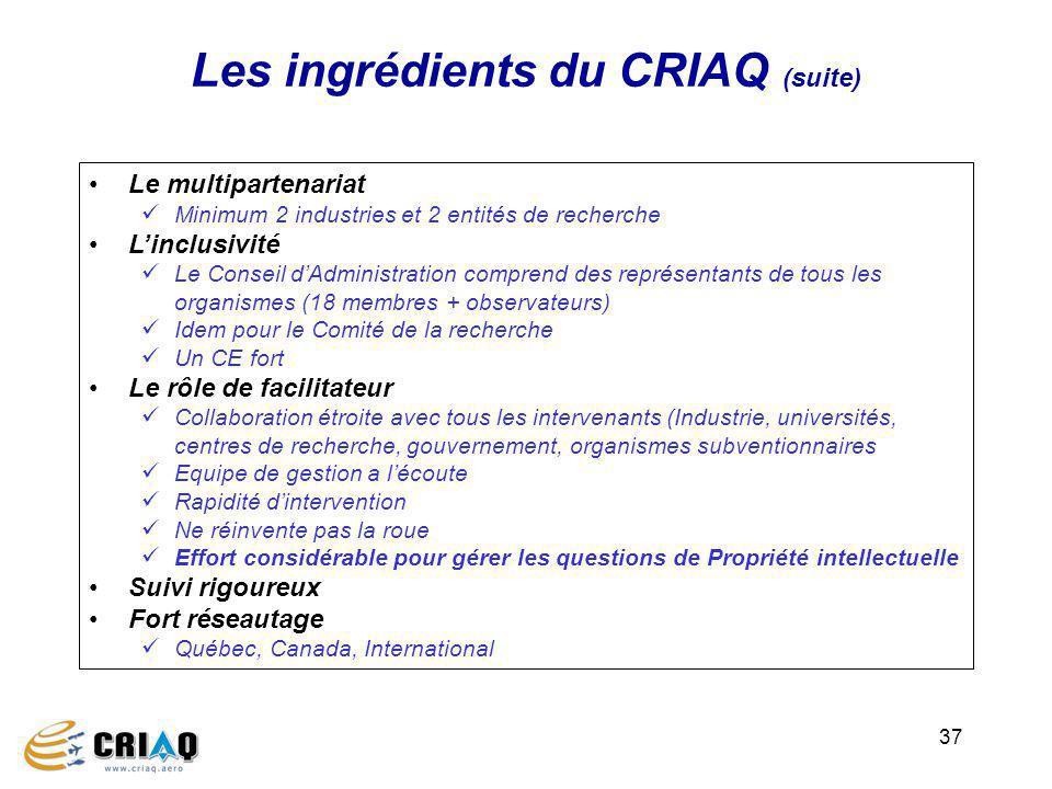Les ingrédients du CRIAQ (suite)
