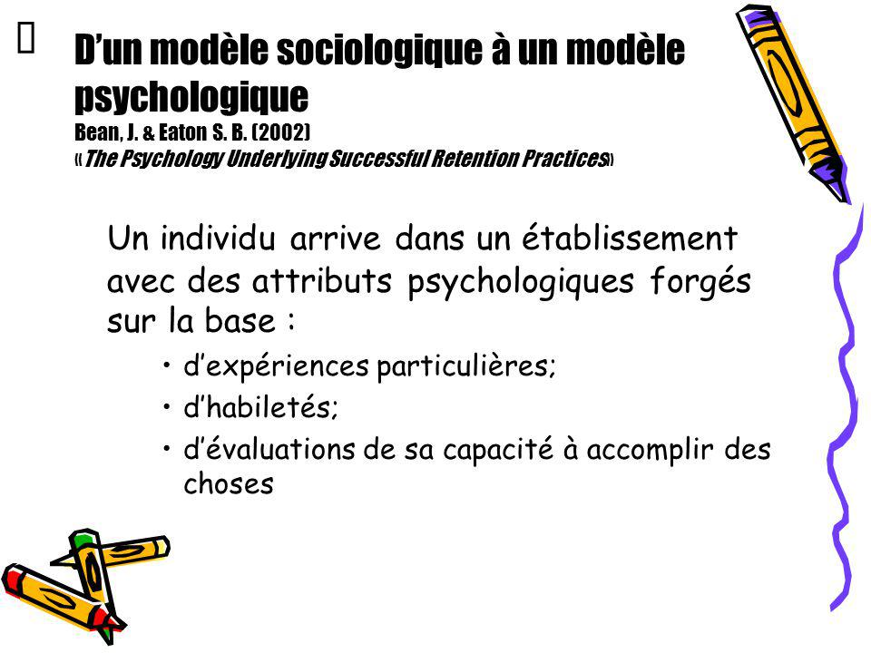 Œ D'un modèle sociologique à un modèle psychologique Bean, J. & Eaton S. B. (2002) «The Psychology Underlying Successful Retention Practices»