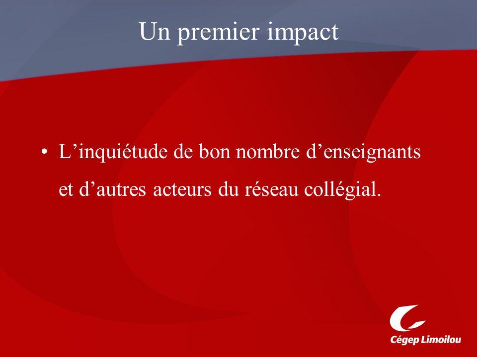 Un premier impact L'inquiétude de bon nombre d'enseignants et d'autres acteurs du réseau collégial.