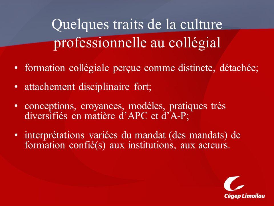 Quelques traits de la culture professionnelle au collégial