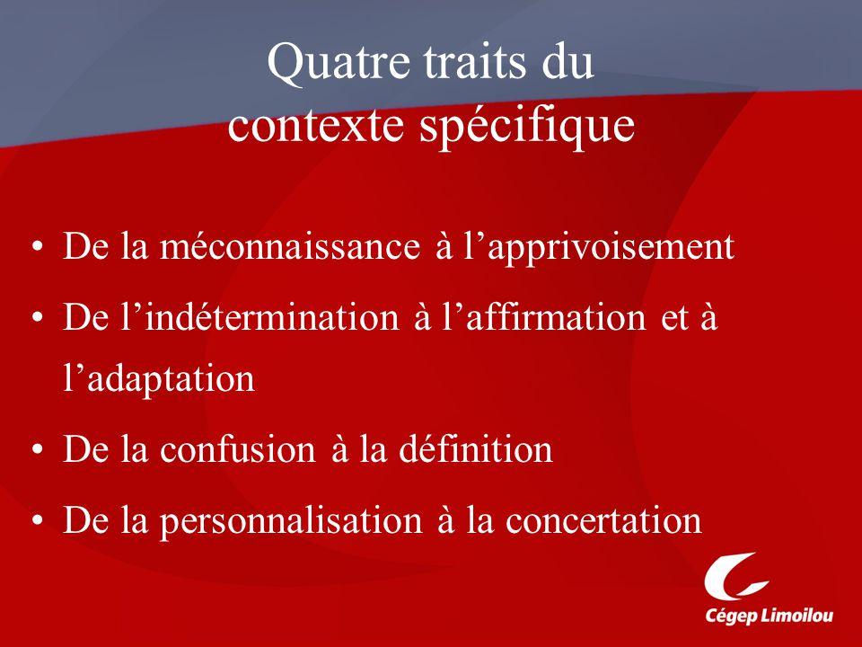 Quatre traits du contexte spécifique
