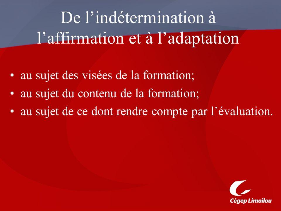 De l'indétermination à l'affirmation et à l'adaptation