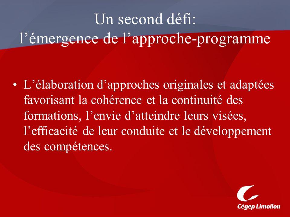 Un second défi: l'émergence de l'approche-programme