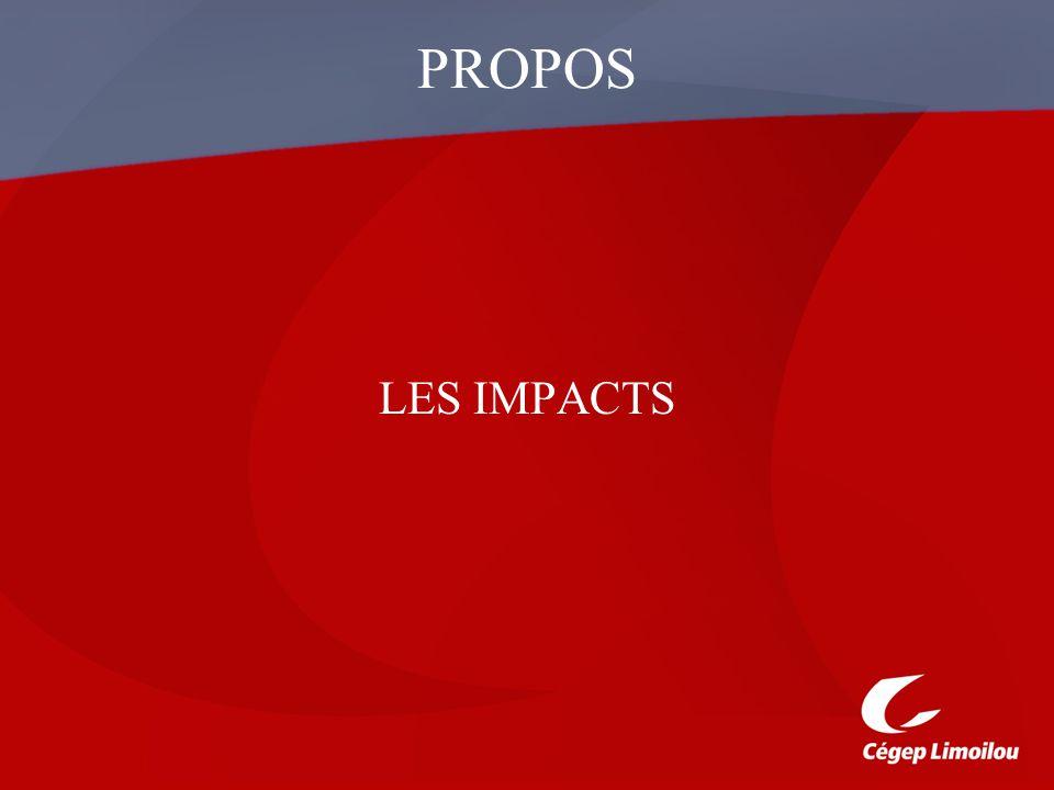 PROPOS LES IMPACTS