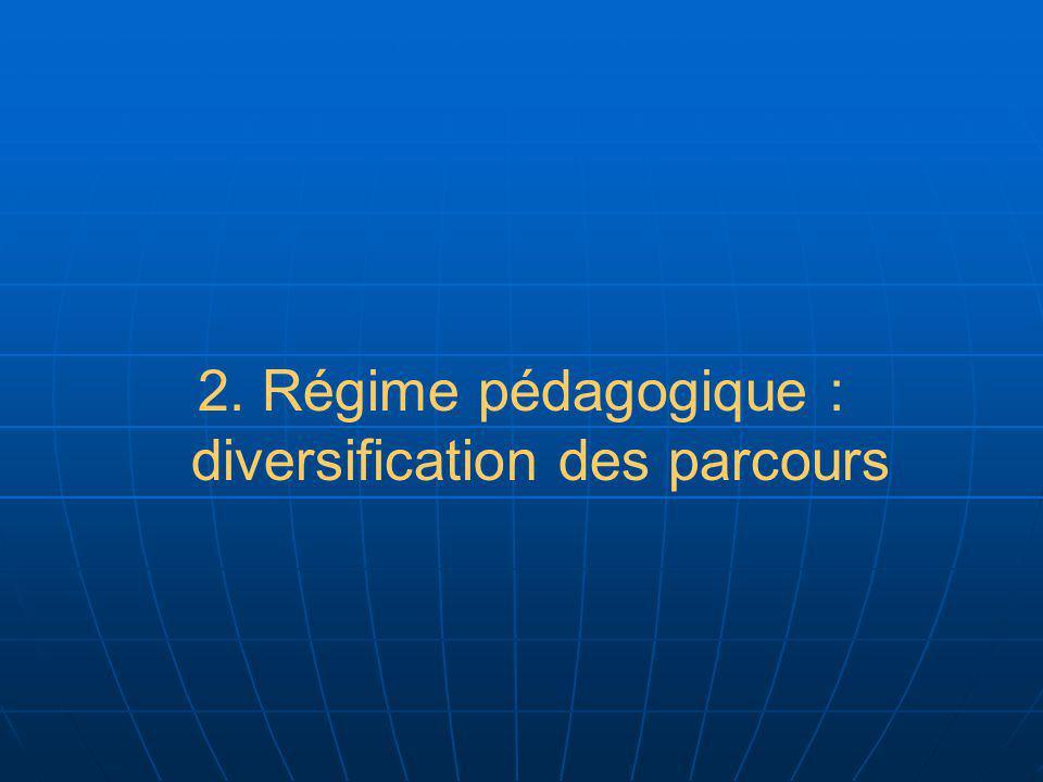 2. Régime pédagogique : diversification des parcours