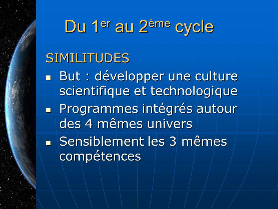 Du 1er au 2ème cycle SIMILITUDES