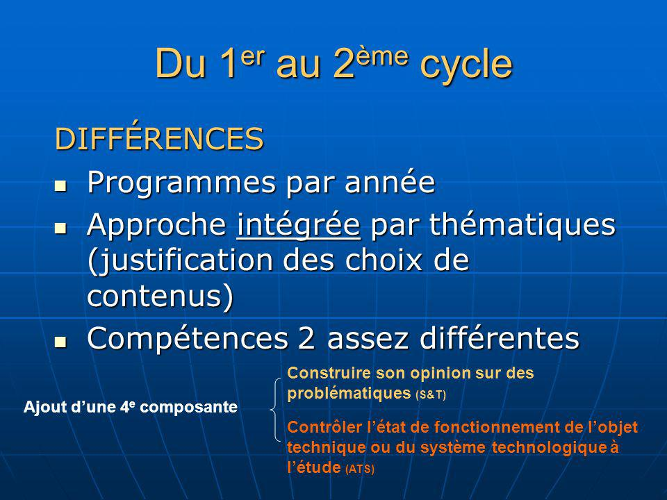Du 1er au 2ème cycle DIFFÉRENCES Programmes par année