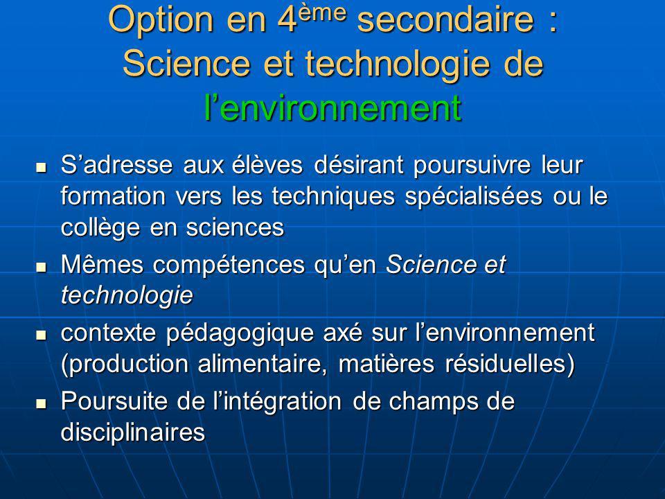 Option en 4ème secondaire : Science et technologie de l'environnement