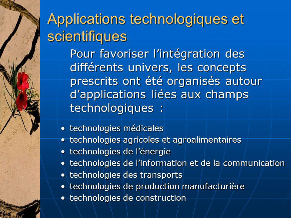 Applications technologiques et scientifiques
