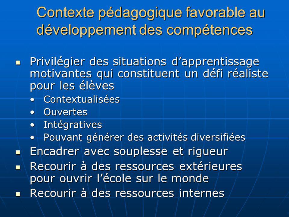 Contexte pédagogique favorable au développement des compétences