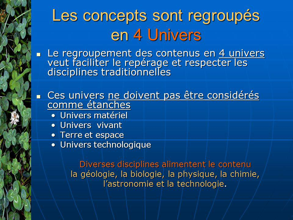 Les concepts sont regroupés en 4 Univers