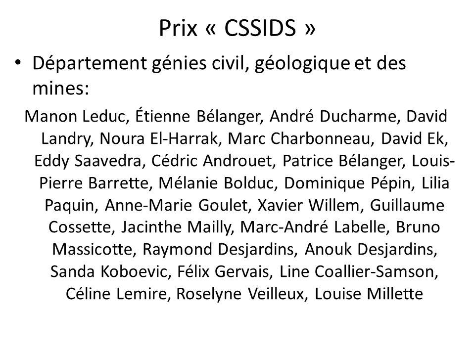 Prix « CSSIDS » Département génies civil, géologique et des mines: