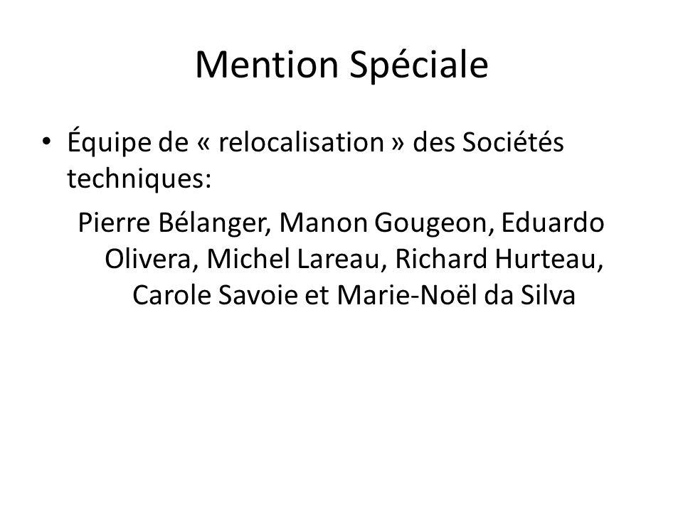 Mention Spéciale Équipe de « relocalisation » des Sociétés techniques: