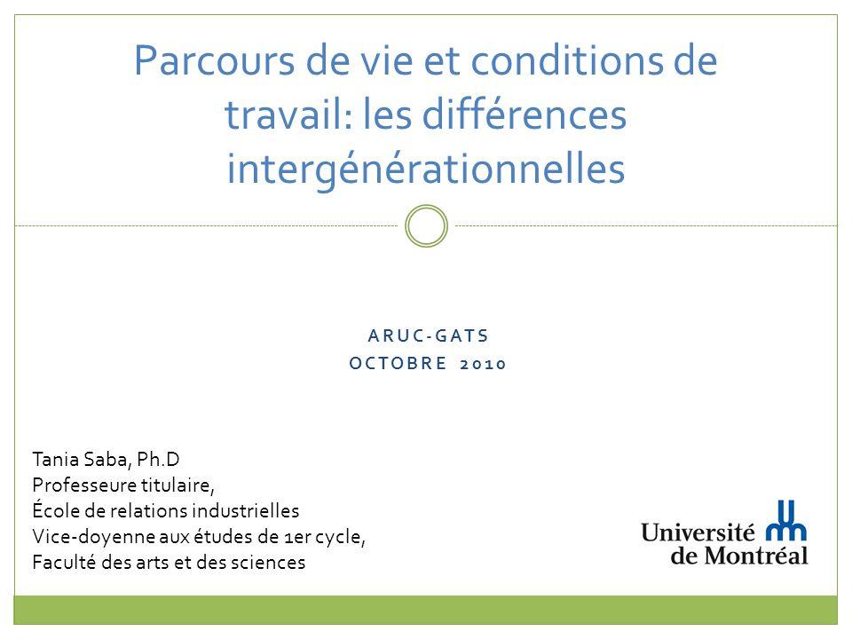 Parcours de vie et conditions de travail: les différences intergénérationnelles