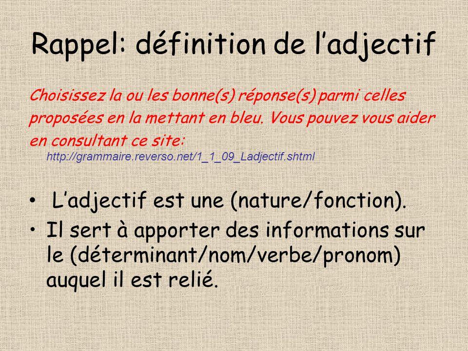 Rappel: définition de l'adjectif