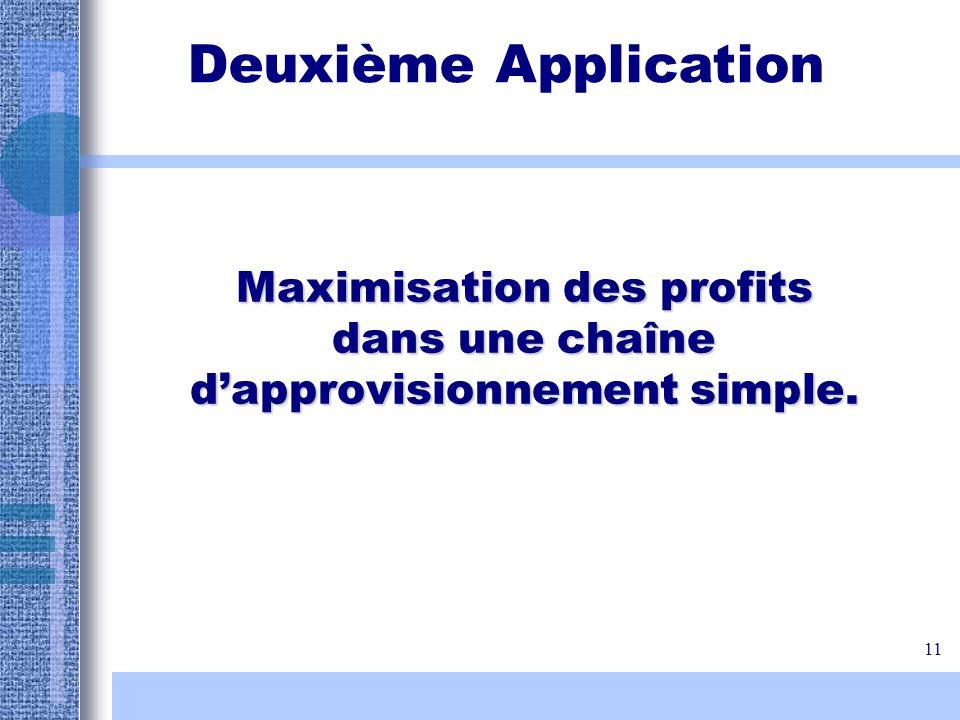 Maximisation des profits dans une chaîne d'approvisionnement simple.