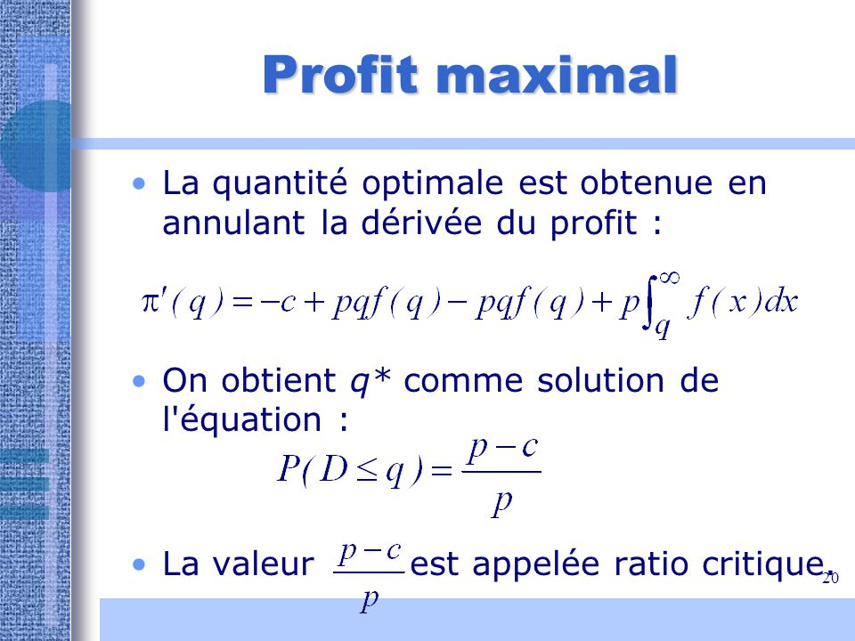 Profit maximal La quantité optimale est obtenue en annulant la dérivée du profit : On obtient q* comme solution de l équation :