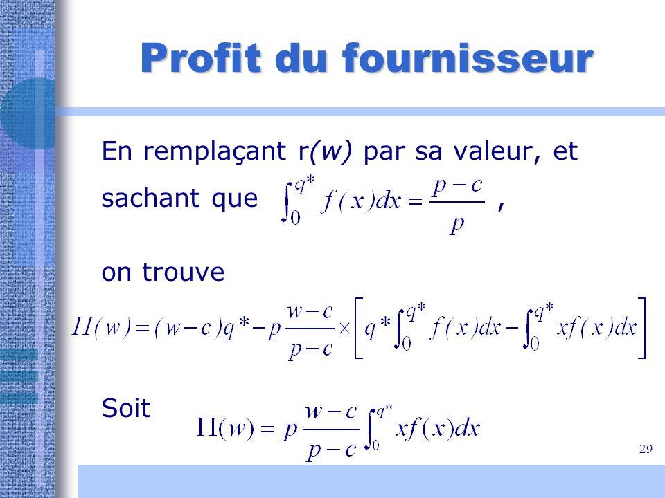 Profit du fournisseur En remplaçant r(w) par sa valeur, et sachant que , on trouve.