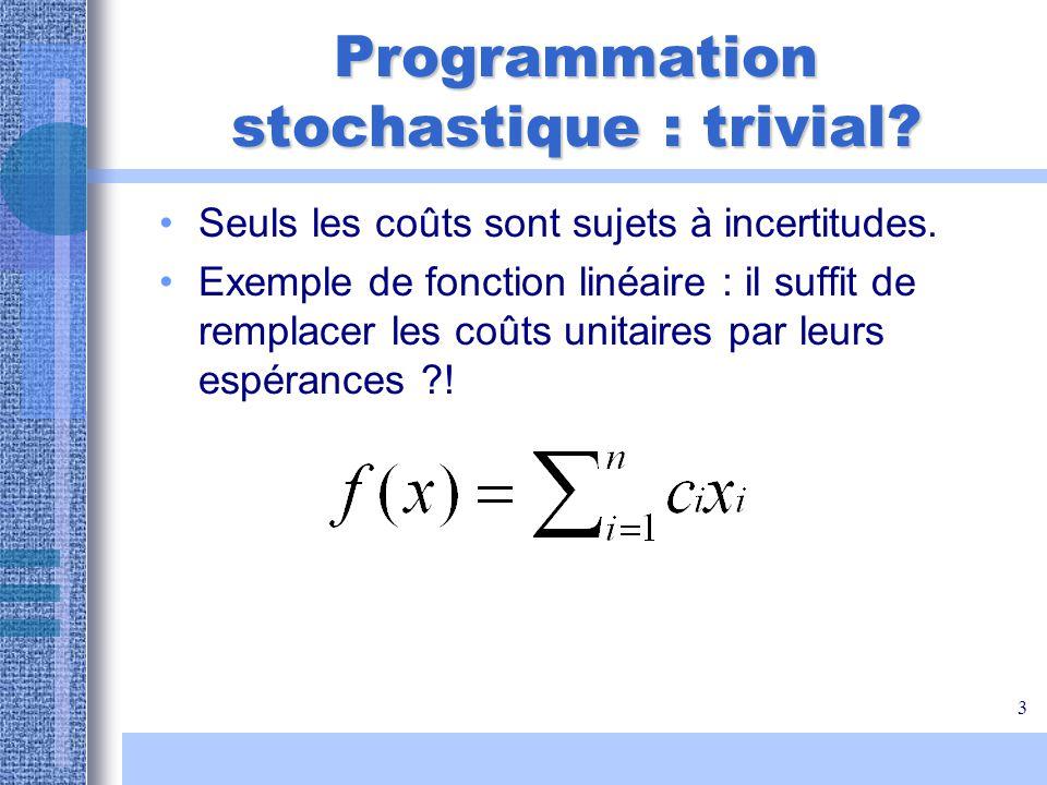 Programmation stochastique : trivial