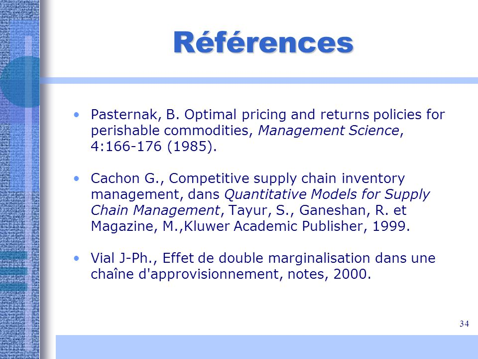Références Pasternak, B. Optimal pricing and returns policies for perishable commodities, Management Science, 4:166-176 (1985).