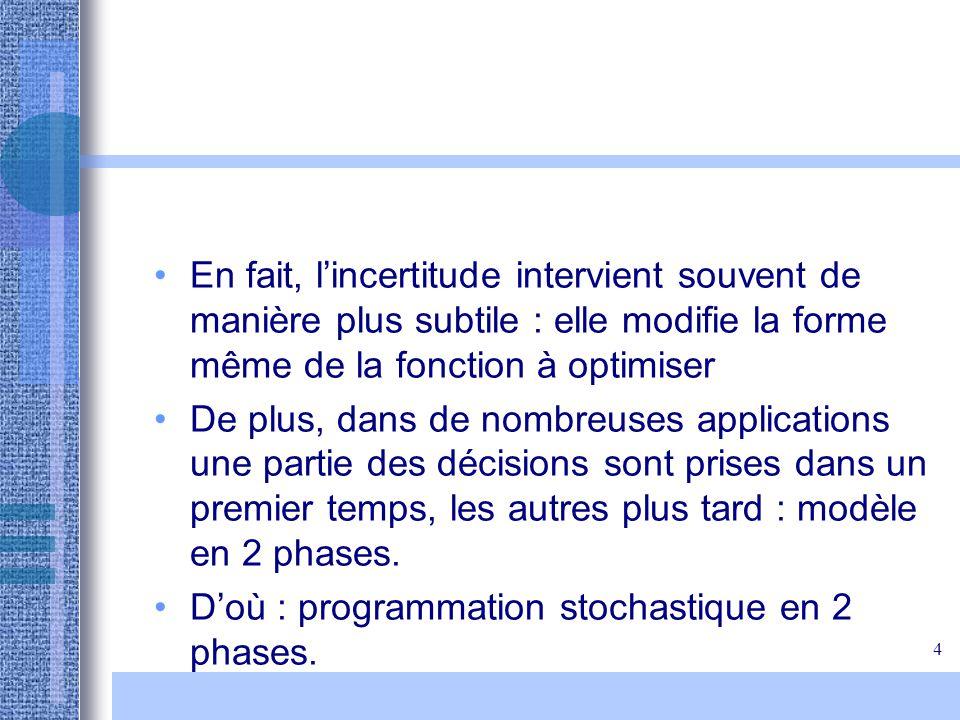 En fait, l'incertitude intervient souvent de manière plus subtile : elle modifie la forme même de la fonction à optimiser